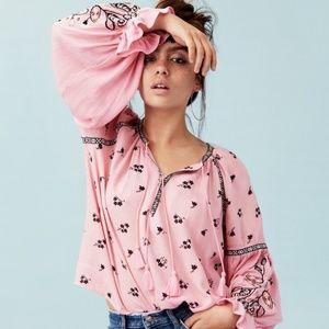 H&M Divided Pink Floral Boho Long Sleeve Blouse